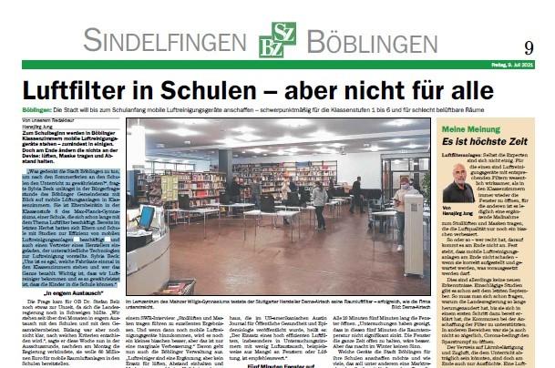 Pilotprojekt: Experimentelle Untersuchung zum Infektionsrisiko in Klassenräumen in Stuttgarter Schulen